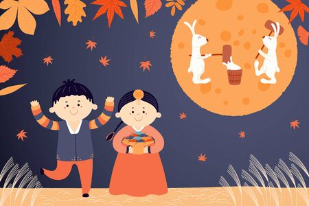 Hand drawn vector illustration for Korean holiday Chuseok with cute children, boy and girl, in hanboks, mooncakes, rabbits on the moon, autumn leaves. Flat style design. Concept card, poster, banner.