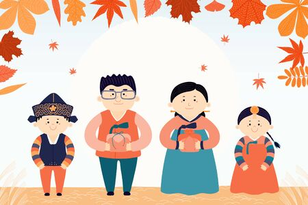 Hand drawn vector illustration for Korean holiday Chuseok, with family, mother, father, children, presents, full moon, autumn leaves. Flat style design. Concept for holiday card, poster, banner.