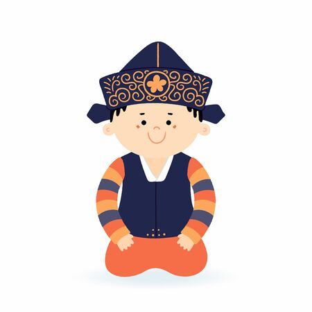 Hand drawn vector illustration of a cute cartoon boy in hanbok, traditional Korean clothes. Isolated on white. Flat style design. Concept for holiday card, poster, banner, travel, tourism in Korea. Ilustrace