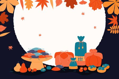 Hand drawn vector illustration for Korean holiday Chuseok, with gifts, persimmons, mooncakes, chestnuts, jujube, pears, pine needles, moon, leaves. Flat style design. Concept for card poster banner Ilustração