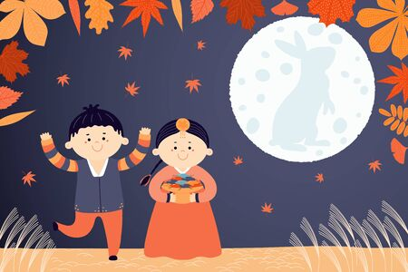 Hand drawn vector illustration for Korean holiday Chuseok with cute children, boy and girl, in hanboks, mooncakes, rabbit on the moon, autumn leaves. Flat style design. Concept card, poster, banner.