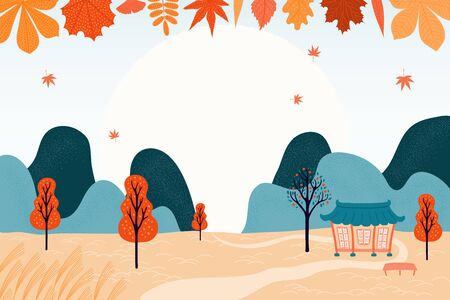 Hand drawn vector illustration for Korean holiday Chuseok, with country landscape, falling leaves, full moon, hanok, trees, mountains. Flat style design. Concept for card, poster, banner. Stockfoto - 128182799