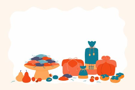 Hand drawn vector illustration for Korean holiday Chuseok, with gifts, persimmons, mooncakes, chestnuts, jujube, pears, pine needles. Flat style design. Concept for card, poster, banner. Reklamní fotografie - 128182802