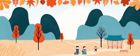 Hand drawn vector illustration for Korean holiday Chuseok , with country landscape, family visiting grandparents, hanok, trees, full moon. Flat style design. Concept for holiday card, poster, banner. Illustration