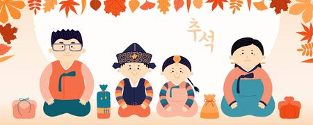 Hand drawn vector illustration for Mid Autumn Festival in Korea, with family, mother, father, children, presents, Korean text Chuseok. Flat style design. Concept for holiday card, poster, banner. Reklamní fotografie - 128182809