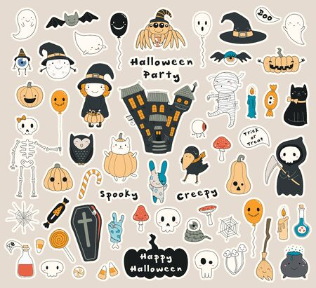 Big set of Halloween stickers with kawaii characters, haunted house, pumpkins, ghosts, skulls, candy. Isolated objects. Hand drawn vector illustration. Line drawing. Design concept for holiday print.