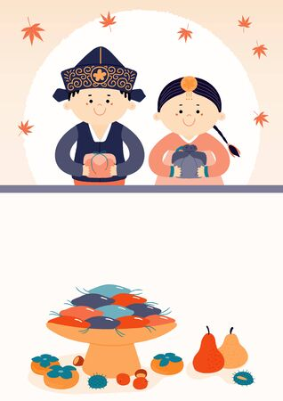 Hand drawn vector illustration for Korean holiday Chuseok with cute kids, boy, girl, in hanboks, holiday gifts, persimmons, mooncakes, moon, leaves. Flat style design. Concept for card, poster, banner