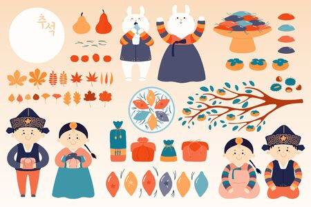 Set of Mid Autumn design elements, kids, rabbits, moon, holiday gifts, persimmons, mooncakes, chestnuts, jujube, leaves, Korean text Chuseok Hand drawn vector illustration Flat style Isolated