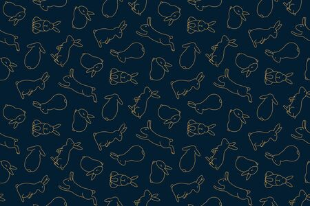 Hand drawn seamless vector pattern with cute rabbits, gold on a dark blue background. Design concept for Mid Autumn Festival print, packaging, wrapping paper. Line art illustration.