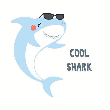 Hand drawn vector illustration of a cute funny shark in sunglasses, with quote Cool Shark. Isolated objects on white background. Flat style design. Color drawing. Concept for summer children print. Reklamní fotografie - 128182836