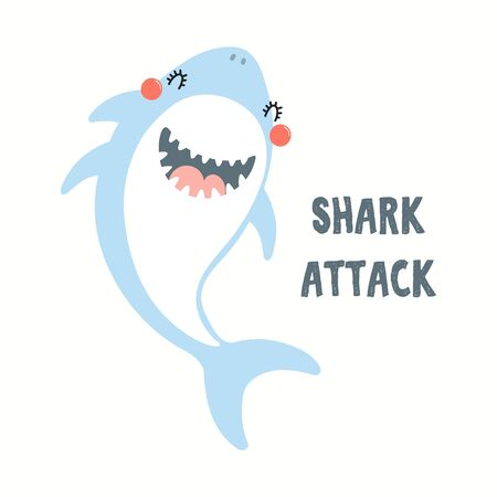 Hand drawn vector illustration of a cute funny shark, with quote Shark Attack. Isolated objects on white background. Flat style design. Color drawing. Concept for summer children print. Ilustração