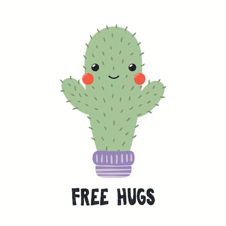 Hand drawn vector illustration of a cute funny cactus in a flower pot, with quote Free Hugs. Isolated objects on white background. Flat style design. Color drawing. Concept for summer children print. Ilustração