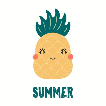 Hand drawn vector illustration of a cute funny pineapple, with quote Summer. Isolated objects on white background. Flat style design. Color drawing. Concept for summer children print. Çizim
