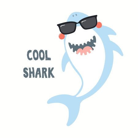 Hand drawn vector illustration of a cute funny shark in sunglasses, with quote Cool Shark. Isolated objects on white background. Flat style design. Color drawing. Concept for summer children print.