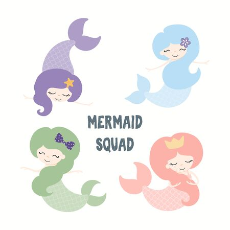 Collection of cute funny mermaids, with quote Mermaid Squad. Isolated objects on white background. Hand drawn vector illustration. Flat style design. Color drawing. Concept for summer children print. Ilustração
