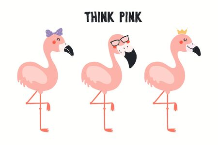 Collection of cute funny flamingos, with quote Think Pink. Isolated objects on white background. Hand drawn vector illustration. Flat style design. Color drawing. Concept for summer children print.