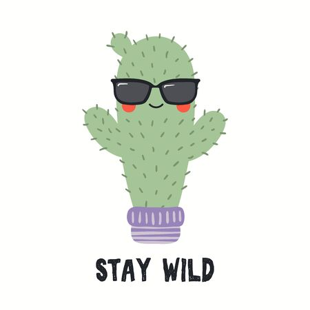 Hand drawn vector illustration of a cute funny cactus in sunglasses, with quote Stay Wild. Isolated objects on white background. Flat style design. Color drawing. Concept for summer children print. Reklamní fotografie - 128182846