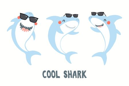 Collection of cute funny sharks in sunglasses, with quote Cool Shark. Isolated objects on white background. Hand drawn vector illustration. Flat style design. Color drawing. Concept for children print Ilustração