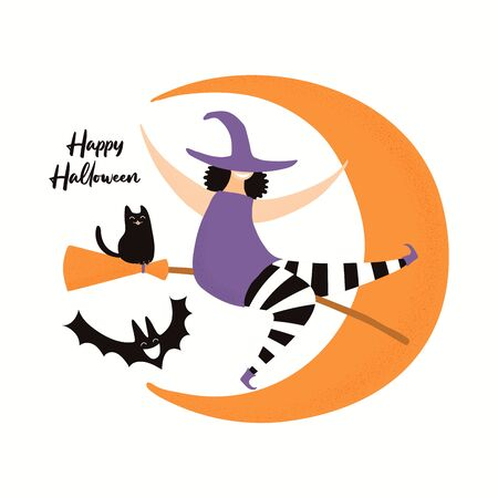Banner, party invitation design element with crescent moon, witch, black cat, flying bat, text Happy Halloween. Isolated on white. Hand drawn vector illustration. Holiday decor concept. Flat style.