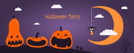 Banner, party invitation, background design with night sky, crescent moon, funny pumpkins, spider holding candy, text Halloween Party. Hand drawn vector illustration. Holiday decor concept. Flat style Reklamní fotografie - 128439887