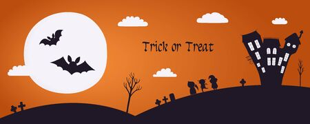 Happy Halloween banner, party invitation, background design with moon, haunted house, kids in costumes, bats, text Trick or treat. Hand drawn vector illustration. Holiday decor concept. Flat style.
