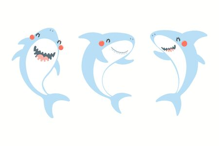 Collection of cute funny sharks. Isolated objects on white background. Hand drawn vector illustration. Flat style design. Color drawing. Concept for summer children print. Illusztráció