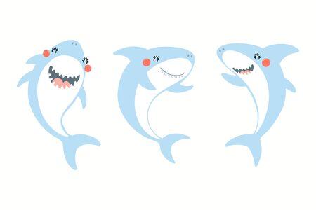 Collezione di simpatici squali divertenti. Oggetti isolati su sfondo bianco. Illustrazione vettoriale disegnato a mano. Design in stile piatto. Disegno a colori. Concetto per la stampa estiva dei bambini. Vettoriali