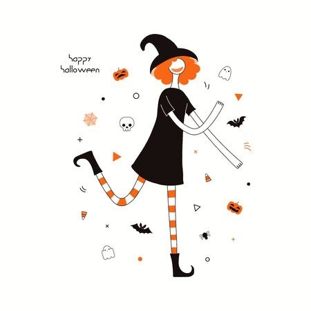 Hand drawn vector illustration of a dancing cartoon character in a witch costume, abstract elements, pumpkins, bats, ghosts, spider webs, skulls, corn candy, text Happy Halloween. Invitation design.