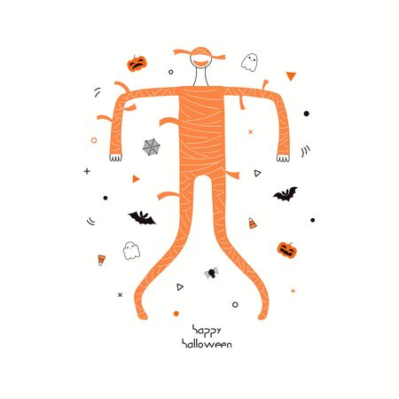 Hand drawn vector illustration of a dancing cartoon character in a mummy costume, abstract elements, pumpkins, bats, ghosts, spider webs, skulls, corn candy, text Happy Halloween. Invitation design.