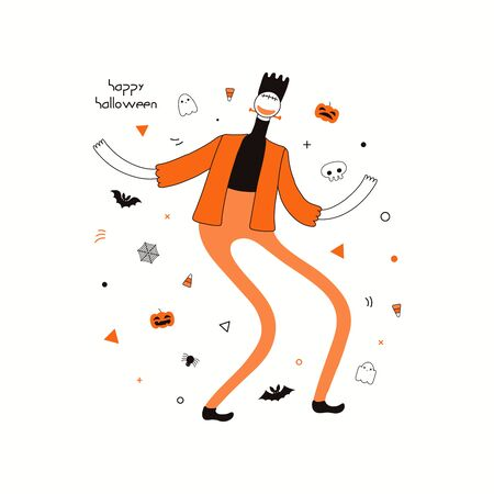 Hand drawn vector illustration of a dancing character in a Frankenstein monster costume, abstract elements, pumpkins, bats, ghosts, spider webs, corn candy, text Happy Halloween. Invitation design.