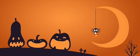 Happy Halloween banner, party invitation, background with crescent moon, funny pumpkins, spider with candy silhouettes, text place. Hand drawn vector illustration. Holiday design concept. Flat style.