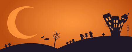 Happy Halloween banner, party invitation, background with moon, haunted house, kids in costume, flying bats silhouettes, text place. Hand drawn vector illustration. Holiday design concept. Flat style.