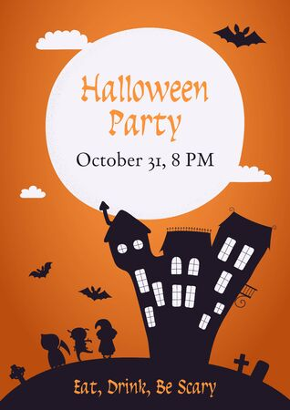 Banner, invitation, background design with full moon, clouds, haunted house, kids in costumes, flying bats, text Halloween Party. Hand drawn vector illustration. Holiday decor concept. Flat style.