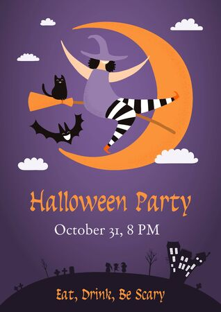 Banner, invitation, background design with night sky, crescent moon, house, funny witch, black cat, flying bat, text Halloween Party. Hand drawn vector illustration. Holiday decor concept. Flat style. Illustration