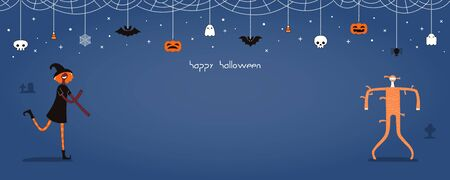 Halloween banner, invitation, background design concept with dancing people in costumes, bunting with pumpkins, bats, ghosts, spider webs, skulls, corn candy, text. Hand drawn vector illustration.
