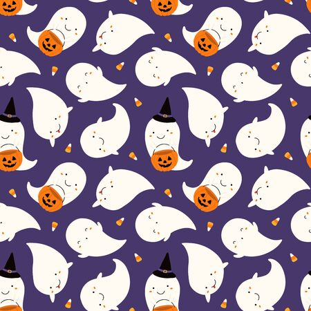 Hand drawn seamless vector pattern with cute ghosts, pumpkins, corn candy, on a violet background. Kawaii style flat design. Concept Halloween textile print, wallpaper, wrapping paper, holiday decor. Illustration