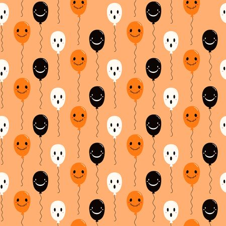Hand drawn seamless vector pattern with cute flying balloons, on a light orange background. Kawaii style flat design. Concept for Halloween textile print, wallpaper, wrapping paper, holiday decor. Illusztráció