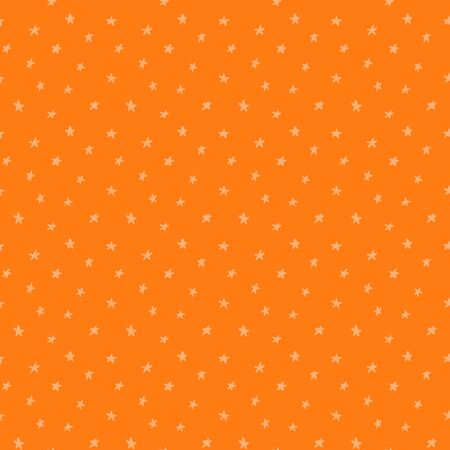 Halloween hand drawn seamless vector pattern with stars, light on a bright orange background. Flat style design. Concept for children textile print, wallpaper, wrapping paper, holiday decor.