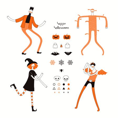 Set of Halloween design elements with dancing characters in costumes, abstract shapes, pumpkins, bats, ghosts, spider webs, skulls, corn candy, text. Hand drawn vector illustration. Isolated on white.