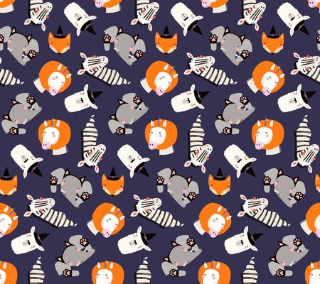 Hand drawn seamless vector pattern with cute animals in Halloween costumes, on a violet background. Scandinavian style flat design. Concept for children textile print, wallpaper, wrapping paper. Illustration