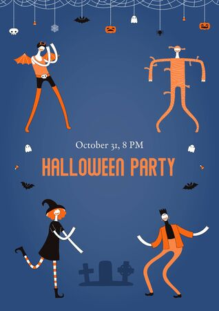 Halloween poster, party invitation design concept with dancing people in costumes, holiday bunting with pumpkins, bats, ghosts, spider webs, skulls, corn candy, text. Hand drawn vector illustration.