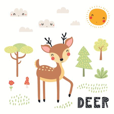 Hand drawn vector illustration of a cute deer in the forest, woodland landscape, with text. Isolated objects on white background. Scandinavian style flat design. Concept for children print. Illustration