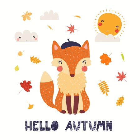 Hand drawn vector illustration of a cute fox in beret, with leaves, sun, clouds, quote Hello Autumn. Isolated objects on white background. Scandinavian style flat design. Concept for children print. Standard-Bild - 133613378