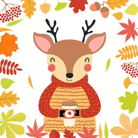 Hand drawn vector illustration of a cute deer in autumn, wearing sweater, with coffee cup, leaves frame. Isolated objects on white background. Scandinavian style flat design. Concept children print. Illustration