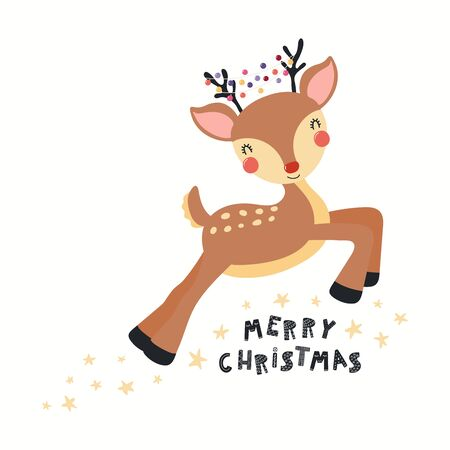 Hand drawn card with cute reindeer with lights garland in the antlers, quote Merry Christmas. Vector illustration. Isolated objects on white. Scandinavian style flat design. Concept for kids print.