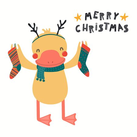 Hand drawn card with cute duck in reindeer antlers, with stockings, quote Merry Christmas. Vector illustration. Isolated on white background. Scandinavian style flat design. Concept for kids print.