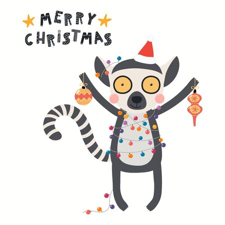 Hand drawn card with cute lemur in Santa hat, lights, with ornaments, quote Merry Christmas. Vector illustration. Isolated objects on white. Scandinavian style flat design. Concept for kids print.