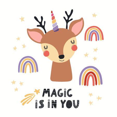 Ilustración de vector dibujado a mano de un lindo ciervo unicornio, con arco iris, estrellas, cita La magia está en ti. Objetos aislados sobre fondo blanco. Diseño plano de estilo escandinavo. Concepto para niños imprimir. Ilustración de vector