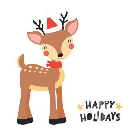 Hand drawn Christmas card with cute reindeer in Santa hat, with quote Happy holidays. Vector illustration. Isolated objects on white background. Scandinavian style flat design. Concept for kids print.
