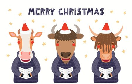 Hand drawn card with cute cow, bison, yak singing carols, with quote Merry Christmas. Vector illustration. Isolated objects on white background. Scandinavian style flat design. Concept for kids print. Ilustracja